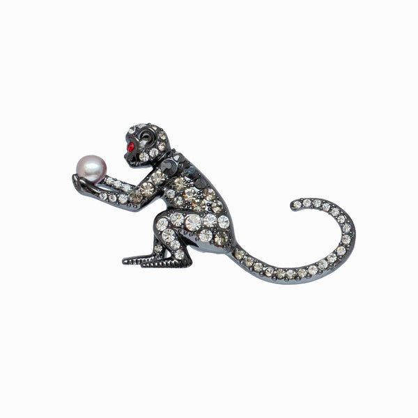 Crystal Monkey Holding Pearl Brooch
