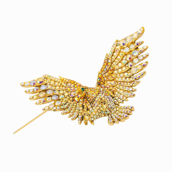 Crystal Flying Eagle Brooch