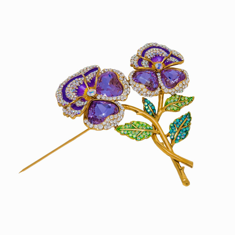 Entwined Pansy Flower Crystal & Stone Brooch
