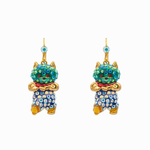 Crystal Walking Happy Cat Earrings