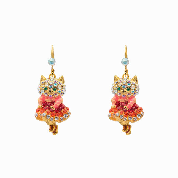 Crystal Happy Cat Earrings