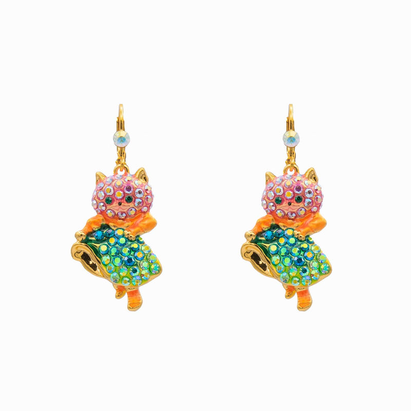 Crystal Dancing Happy Cat Earrings