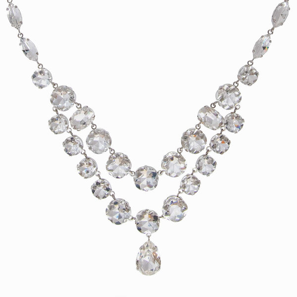 Crystal Multi-Faceted Teardrop Necklace