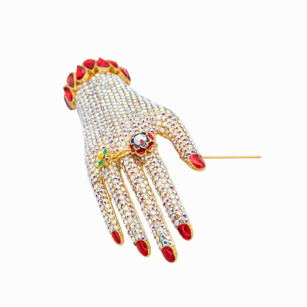 Medium Crystal Hand Brooch
