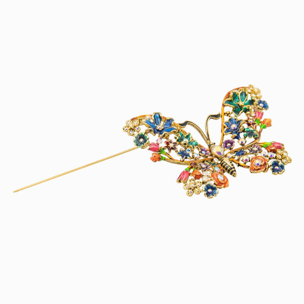 Multi Coloured Crystal Butterfly Brooch