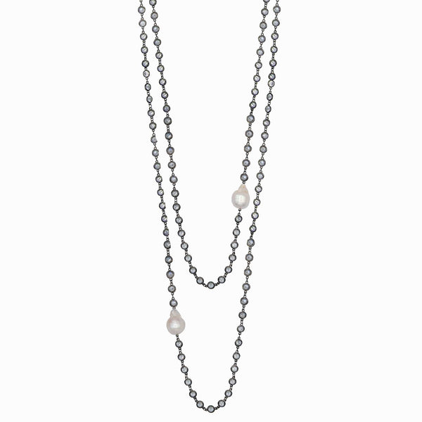 Long Double Crystal & Baroque Pearl Chain Necklace