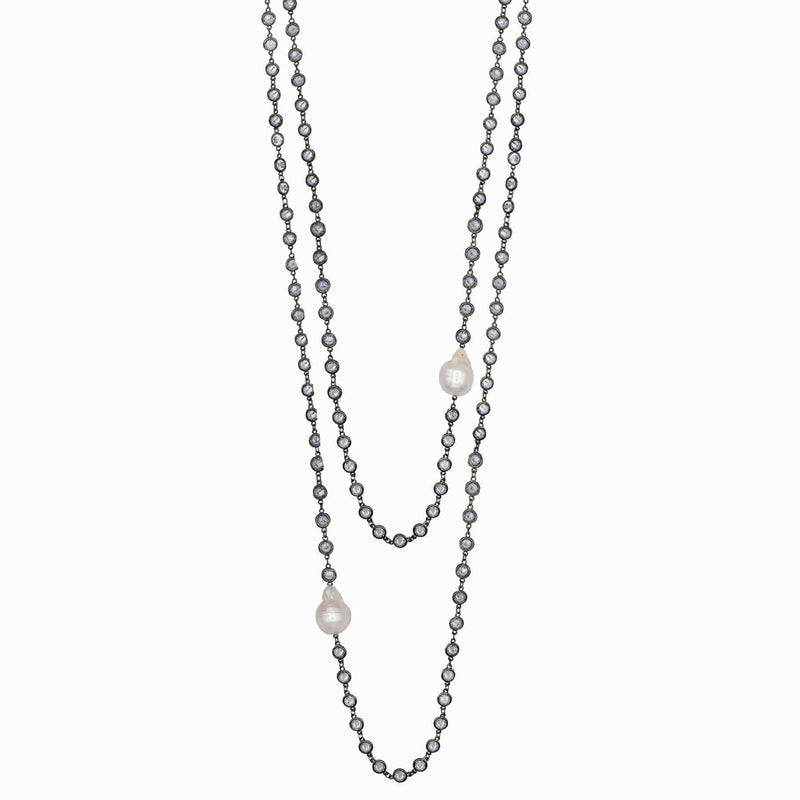 Long Pearl Embellished Swarovski Beaded Chain