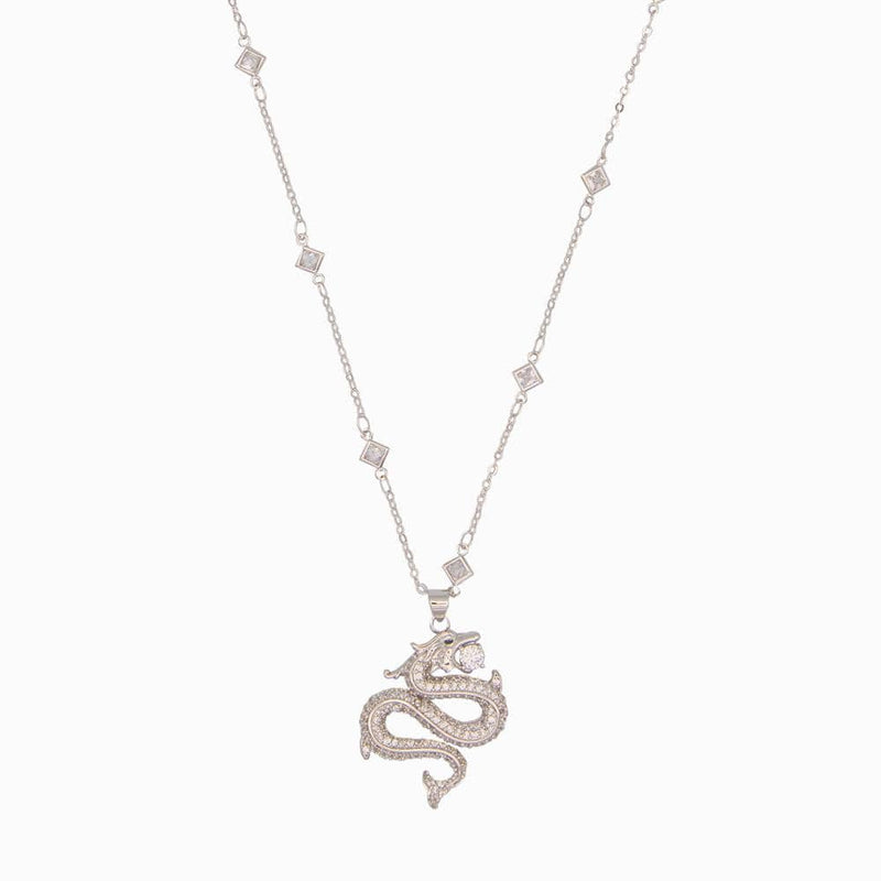 Studded Infinity Dragon Pendant Necklace