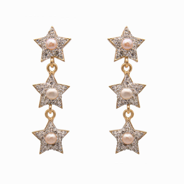 Three Stars with Pearl Drop Crystal Earrings