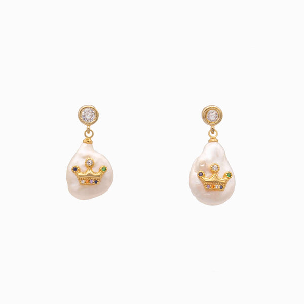 Crown on a pearl  Drop Earrings