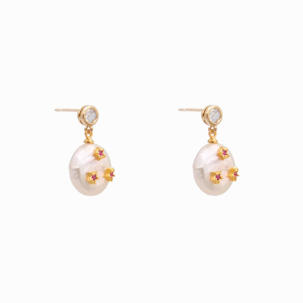 Pearl with Three Stars Drop Earrings