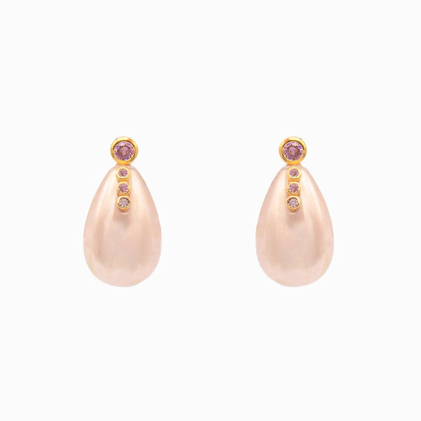 Teardrop Pearl with Four Crystals Earrings