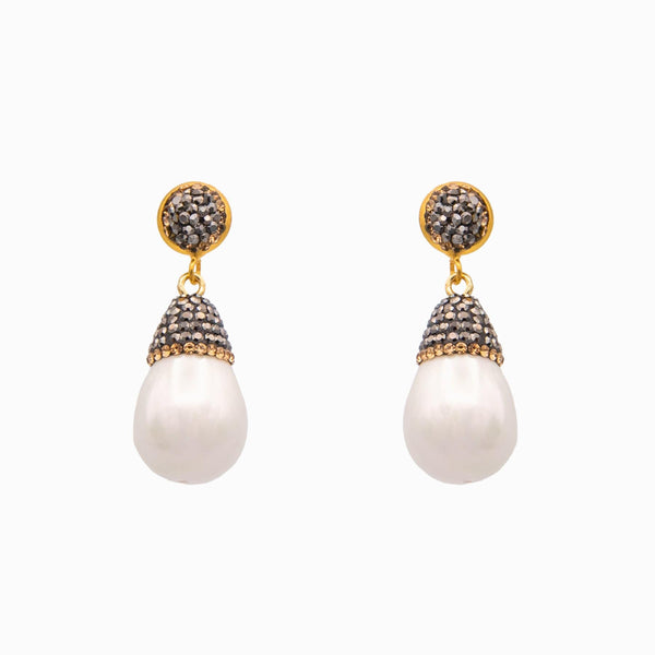 Pearl with crystal top drop earrings