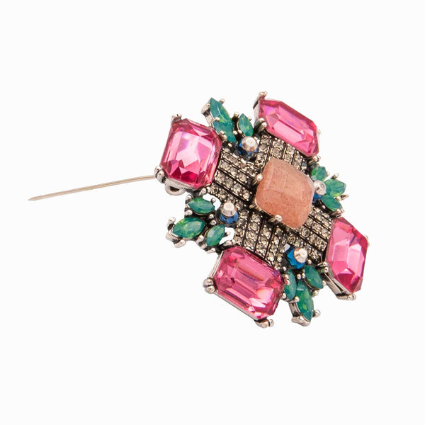 Cross Shape Crystal Brooch