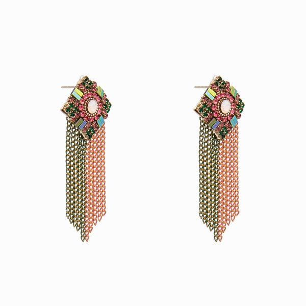 Rhomboid shape shower earrings