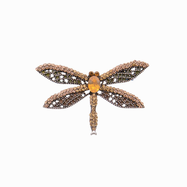 Crystal Dragon Fly Brooch