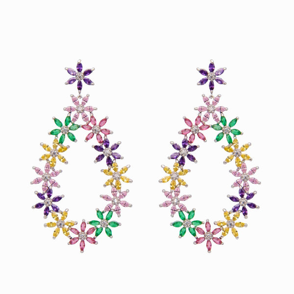 Crystal Flowers in Oval shape drop earrings