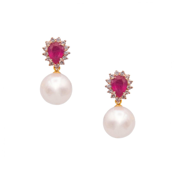 Ruby Teardrop & White Topaz Drop Pearl Earrings