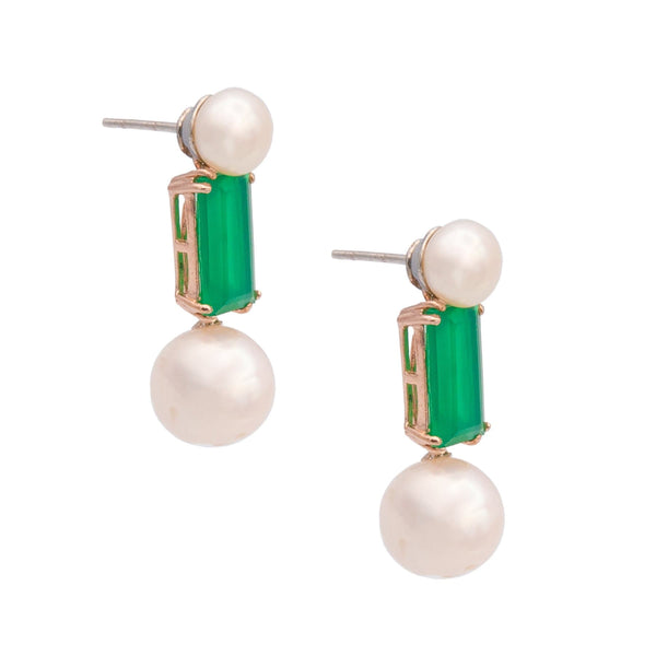 Green Chalcedony  Two Pearls Drop Earrings