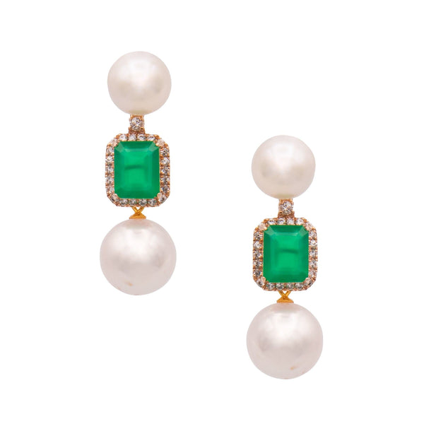 Green Chalcedony & Topaz Two Pearls Drop Earrings