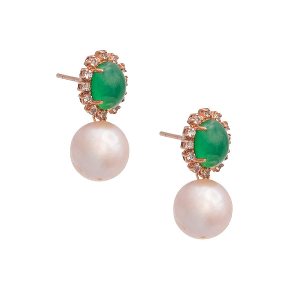 Polished Oval Chalcedony & White Topaz Pearl Drop Earrings