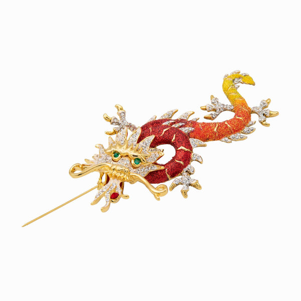 Glitter Crystal Chinese Dragon Brooch