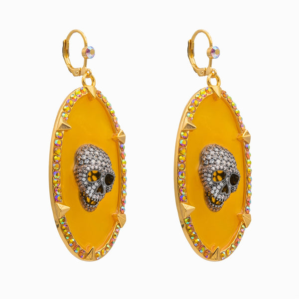 Plique-à-jour Skull Oval Earrings