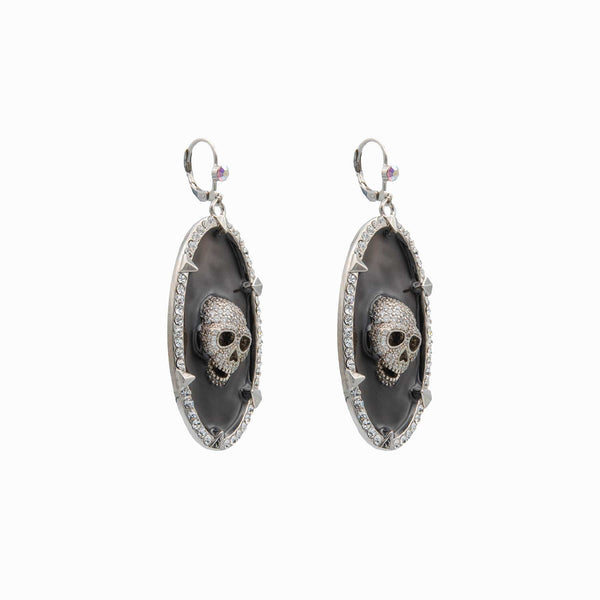 Oval Disk Skull Earrings