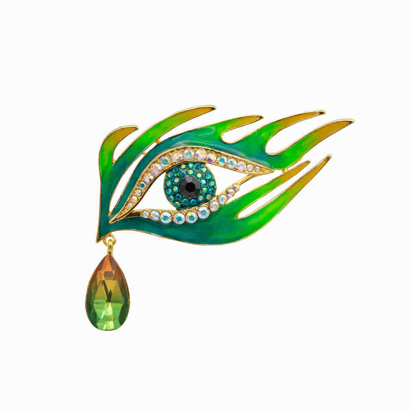 Crystal & Enamel Dragon Teardrop Eye Brooch