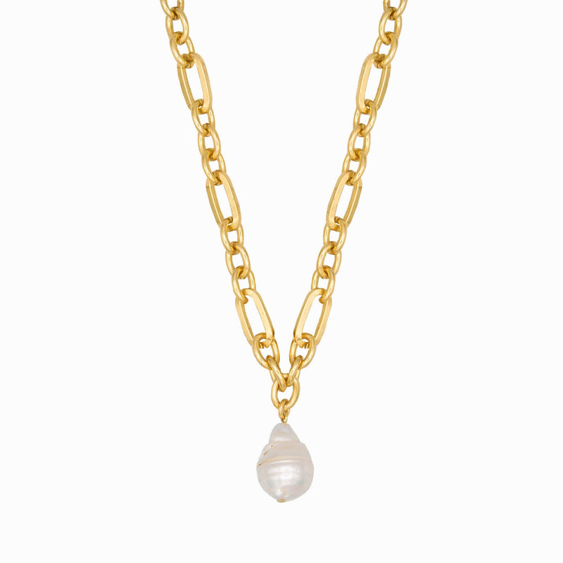 Baroque Pearl Chain Link Necklace