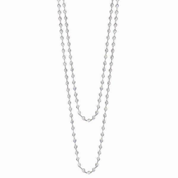 Long Double Crystal Chain Necklace