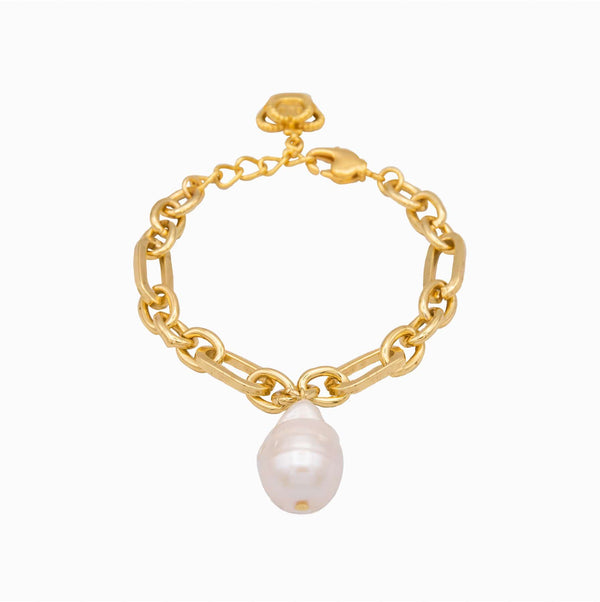 Baroque Pearl Chain Link Bracelet