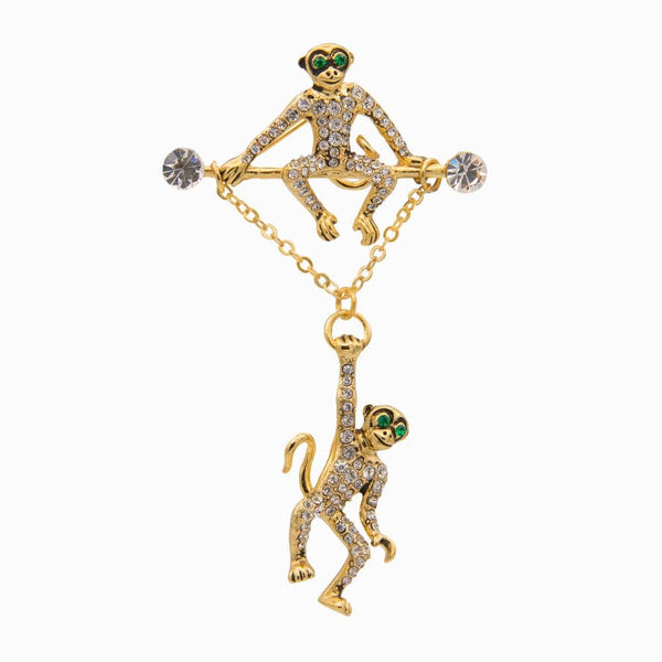Hanging Monkeys Swarovski Studded Brooch