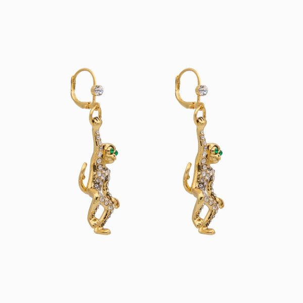 Hanging Monkey Crystal Earrings