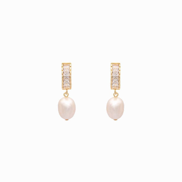 Crystal Baguette & Baroque Pearl Earrings