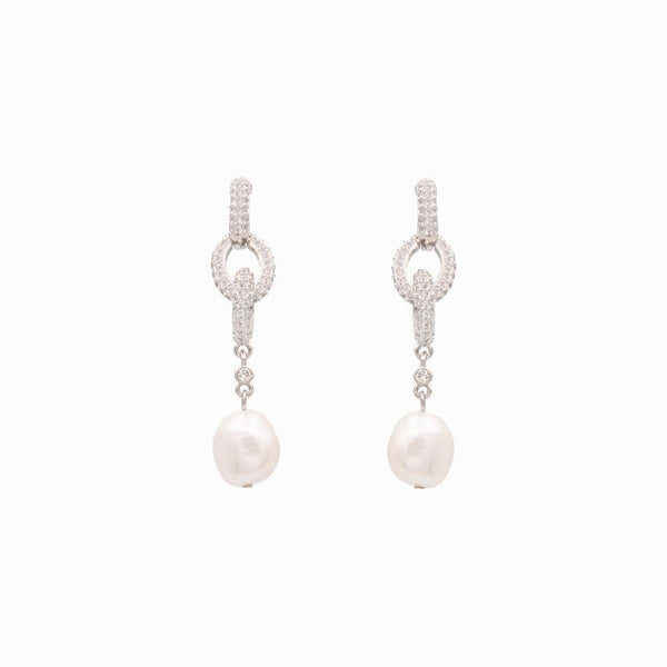 Three Crystal Hoops with Drop Pearl Earrings