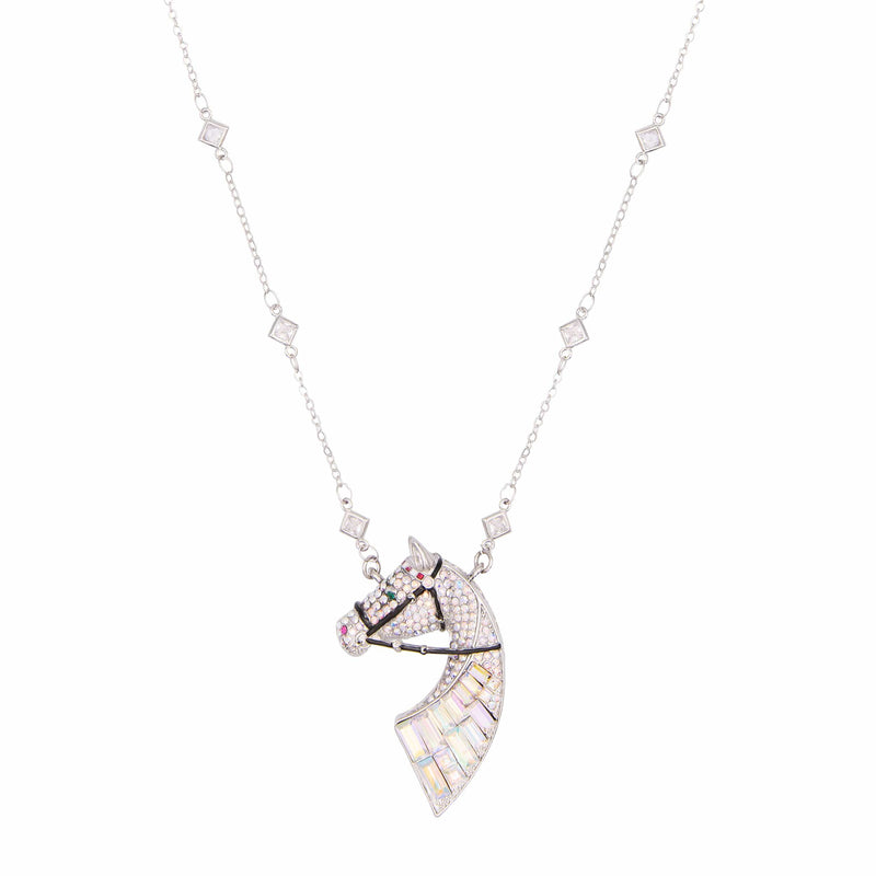 Baguette Stone Horses Head Necklace