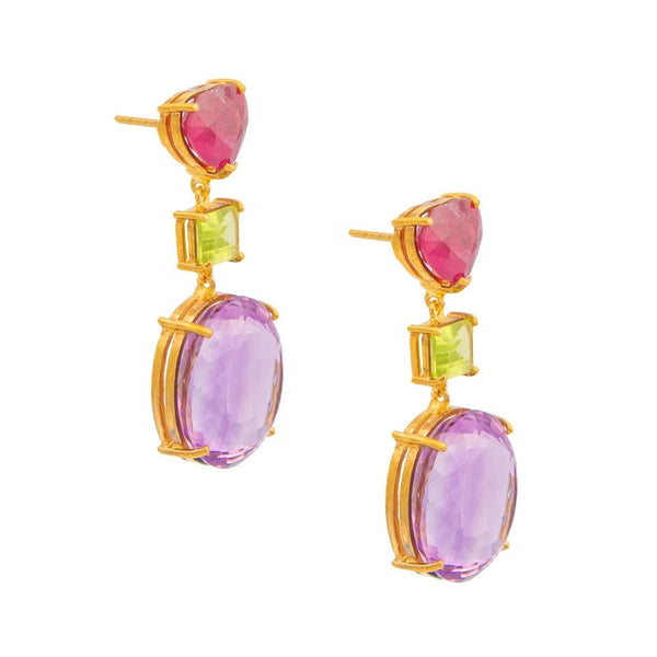 Heart Shaped Ruby Peridot & Amethyst Earrings
