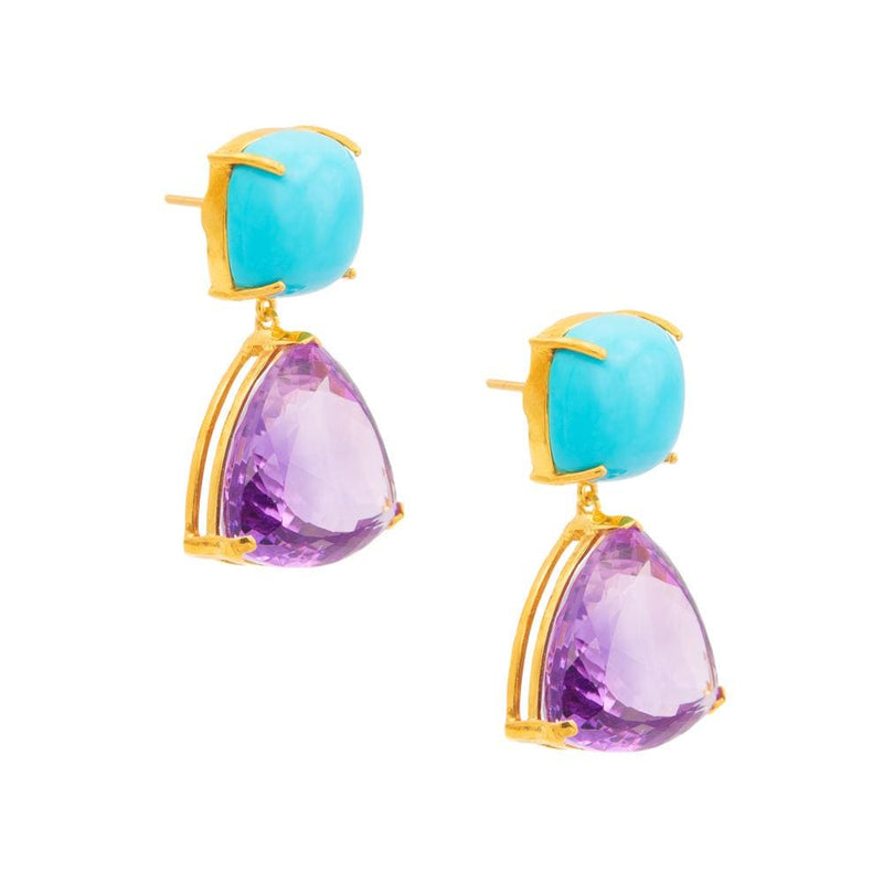 Square Turquoise with Triangle Drop Amethyst Earrings