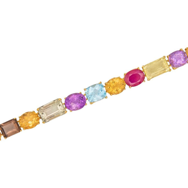 Green Amethyst Ruby Citrine & Smokey Quartz Bracelet