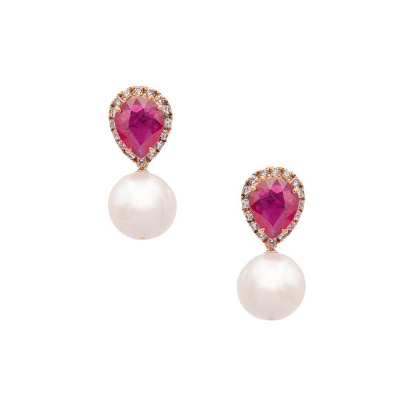 White Topaz Teardrop Ruby & Freshwater Pearl Earrings