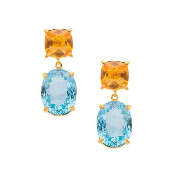 Square Citrine & Oval Blue Topaz Drop Earrings