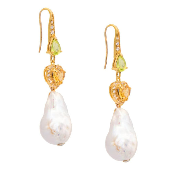 White Topaz Perridot Citrine & Freshwater Pearl Earrings