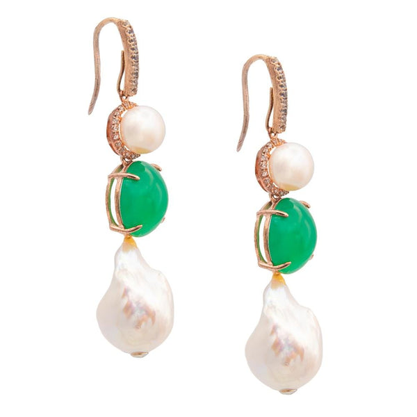 White Topaz Chalcedony & Freshwater Pearl Earrings