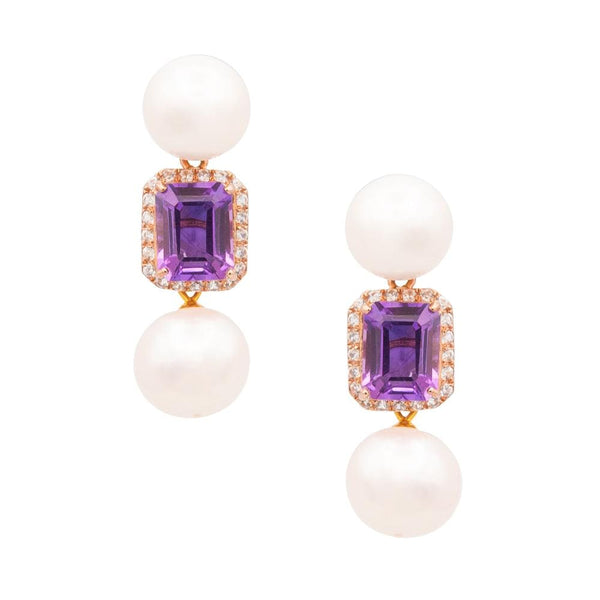 White Topaz Purple Amethyst & Freshwater Pearl Earrings