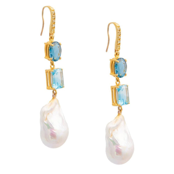 White Topaz Blue London Topaz & Freshwater Pearl Earrings