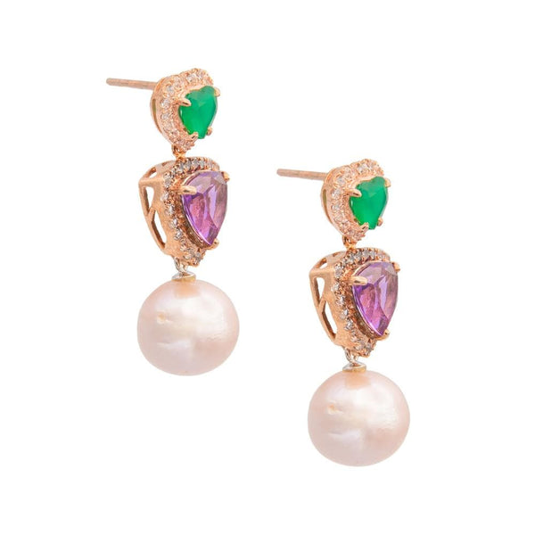 Green Chalcedony Amethyst Topaz & Freshwater Pearl Earrings