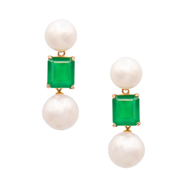 Green Chalcedony & Freshwater Pearl Earrings