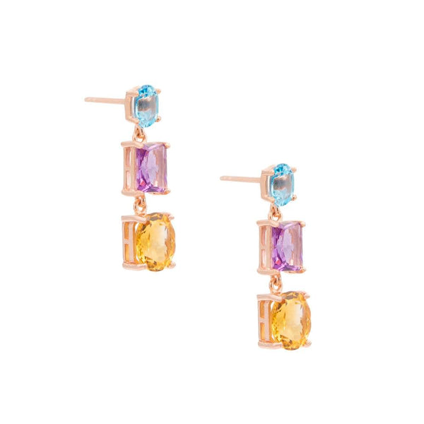Topaz Amethyst & Citrine Drop Earrings