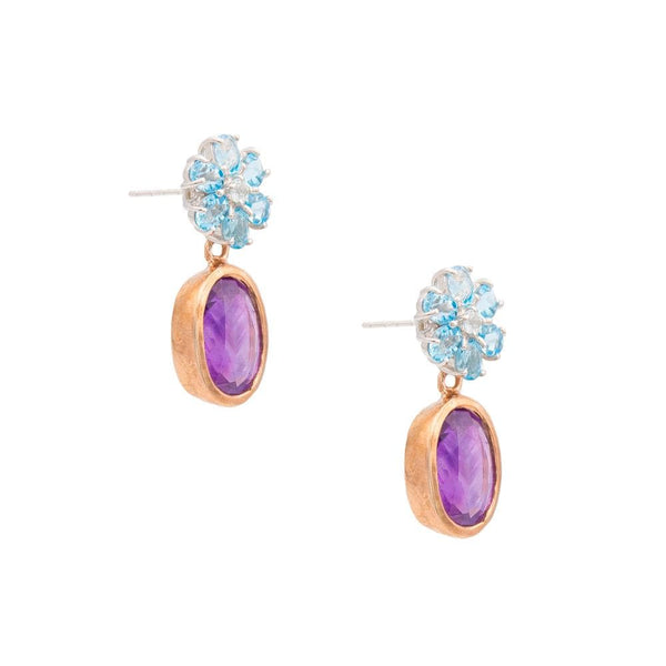 Blue Topaz Flower & Oval Amethyst Earrings